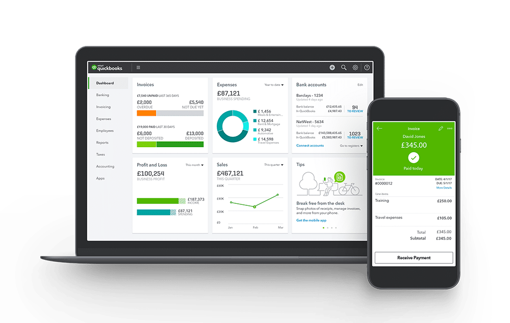 QuickBooks on desktop and mobile screens